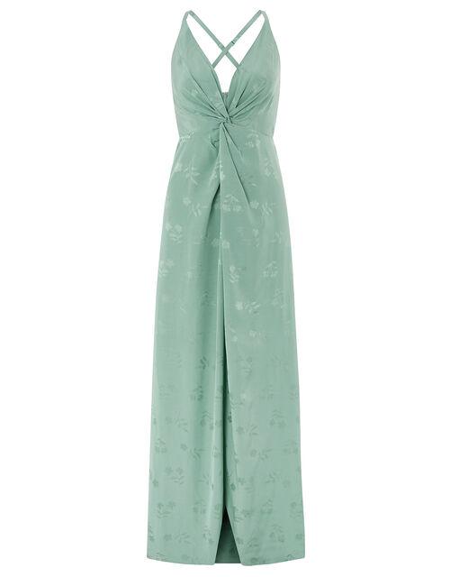 Karlie Knot Front Jacquard Dress, Green (GREEN), large