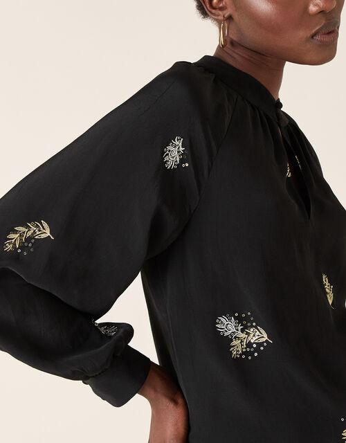 Peacock Embellished Blouse, Black (BLACK), large