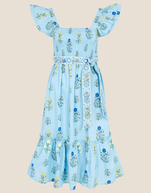 Floral Frill Sleeve Midi Dress, Blue (BLUE), large