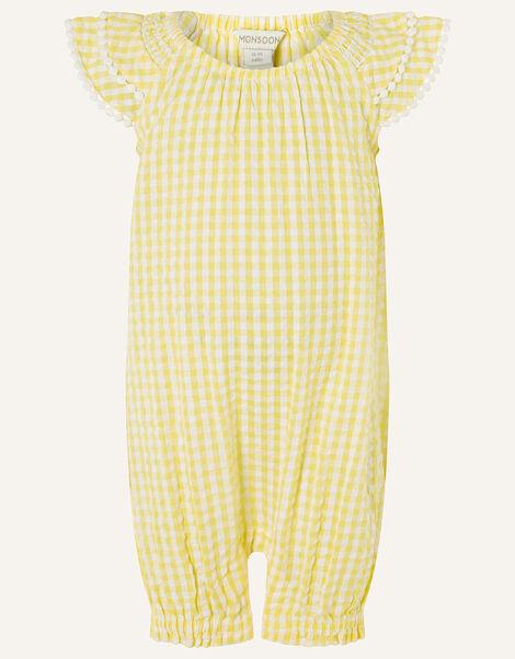 Baby Seersucker Romper Yellow, Yellow (YELLOW), large