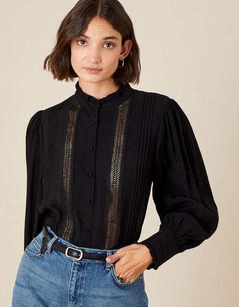 Victoriana Lace Trim Blouse Black, Black (BLACK), large