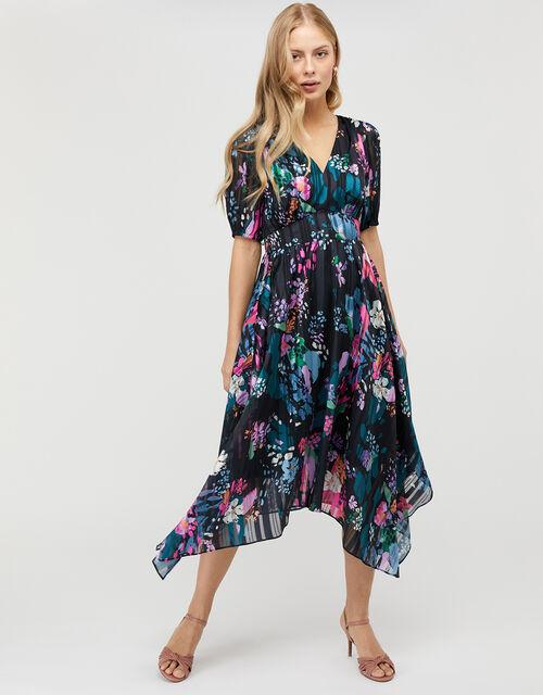 Penny Floral Hanky Hem Dress, Blue (NAVY), large