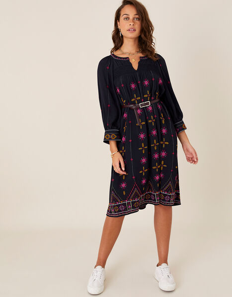 Embroidered Tunic Dress in LENZING™ ECOVERO™ Blue, Blue (NAVY), large
