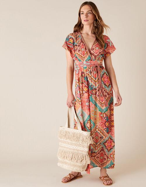 Printed Maxi Dress, Orange (ORANGE), large