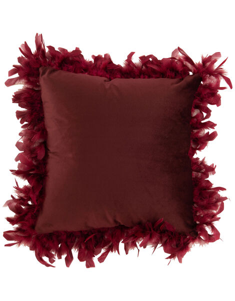 Feather Trim Square Cushion Red, Red (BURGUNDY), large