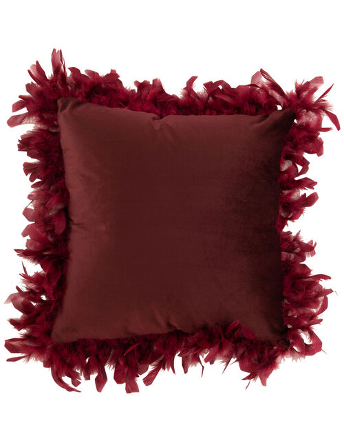 Feather Trim Square Cushion, Red (BURGUNDY), large