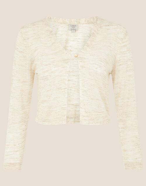 Button Shrug in Linen Blend, Natural (NATURAL), large