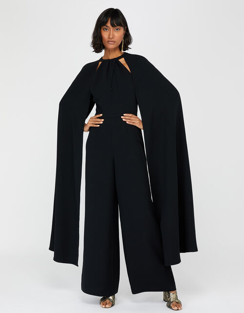 Kimora Cape Wide Leg Jumpsuit, Black, large