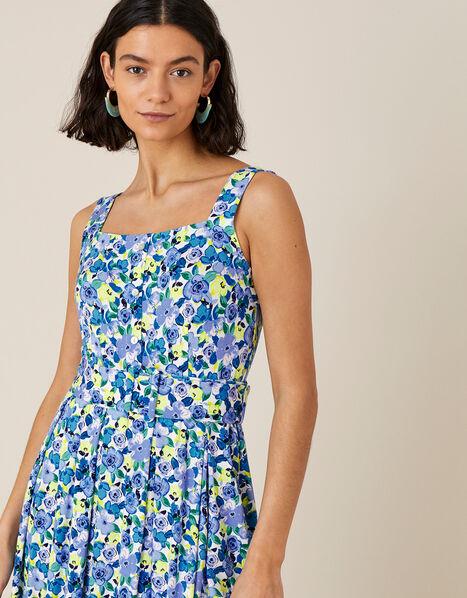 Floral Print Jersey Sundress Blue, Blue (BLUE), large