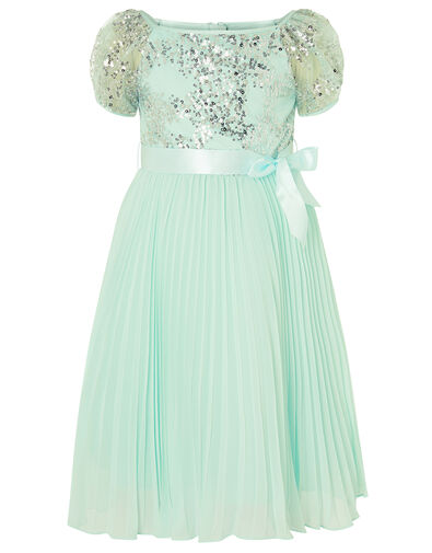 Bellissia Sequin Pleated Dress  Green, Green (MINT), large