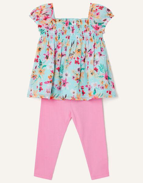 Baby Floral Top and Leggings Set  Blue, Blue (AQUA), large