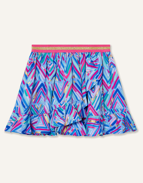 Chevron Foil Print Skirt, Blue (BLUE), large