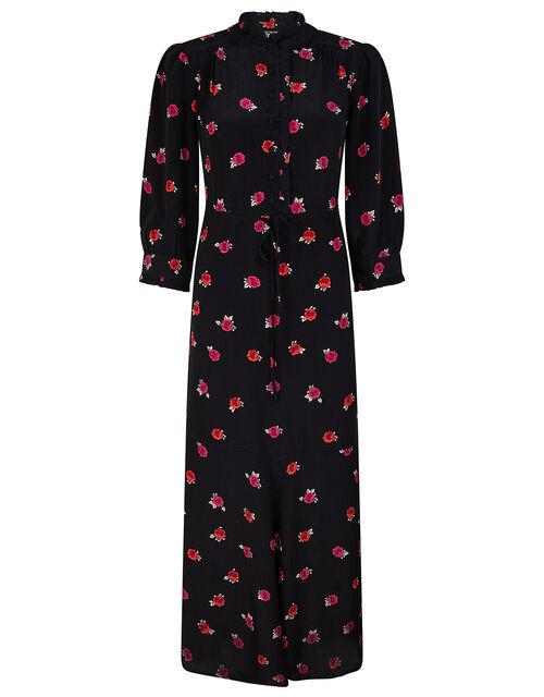 Rose Print Midi Dress in Sustainable Viscose, Black (BLACK), large