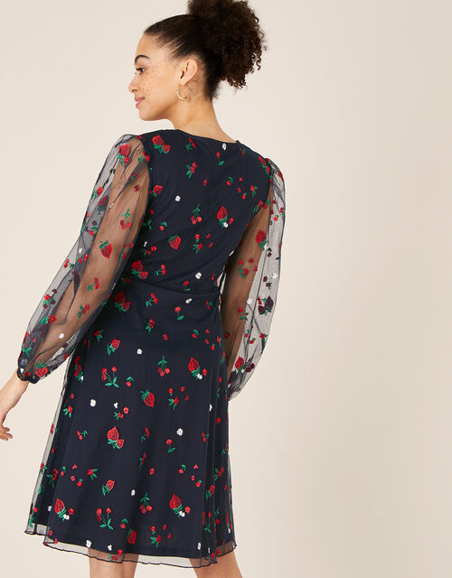 Zariah Strawberry Embroidered Wrap Dress, Blue (NAVY), large