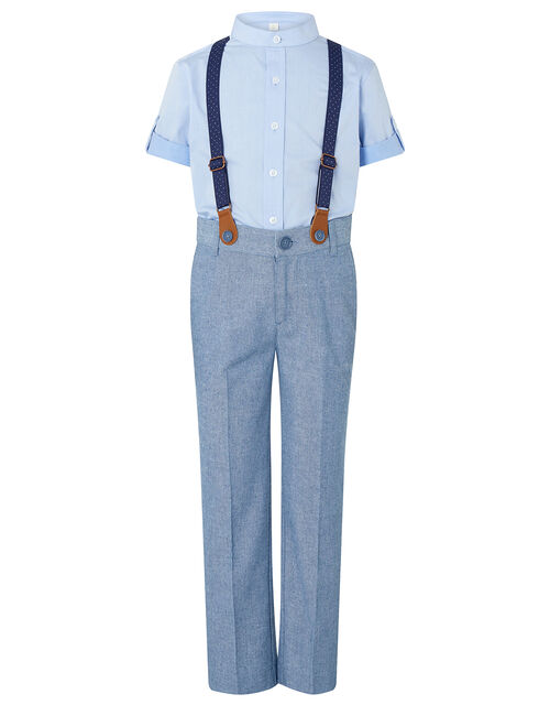 Nathan Chambray Three-Piece Suit Set, Blue (BLUE), large