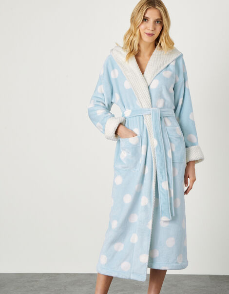 Spot Print Dressing Gown with Hood Blue, Blue (BLUE), large