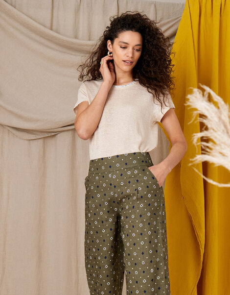 Marnie Printed Culottes in Pure Linen Green, Green (KHAKI), large