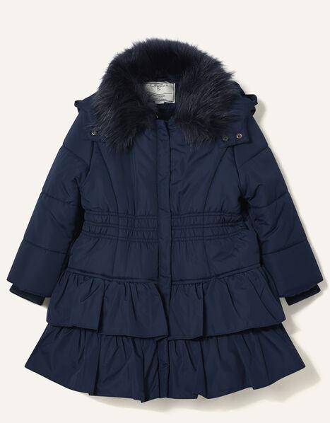 Shirred Ruffle Padded Coat Blue, Blue (NAVY), large