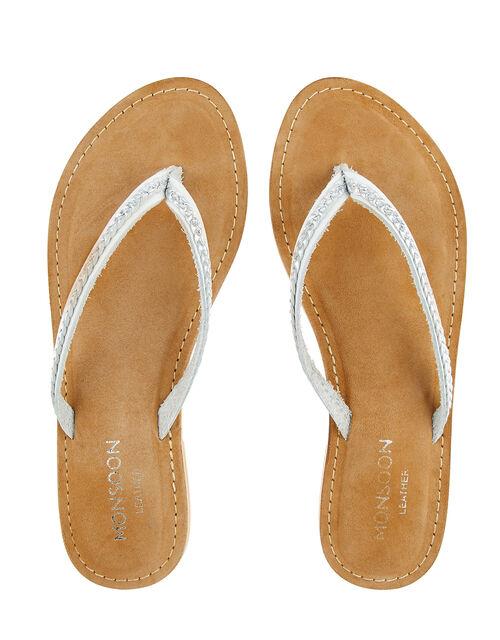 Parker Plaited Leather Flip Flops, Silver (SILVER), large
