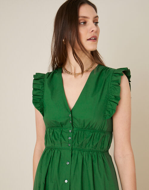 Tiered Midi Dress in Pure Cotton, Green (GREEN), large