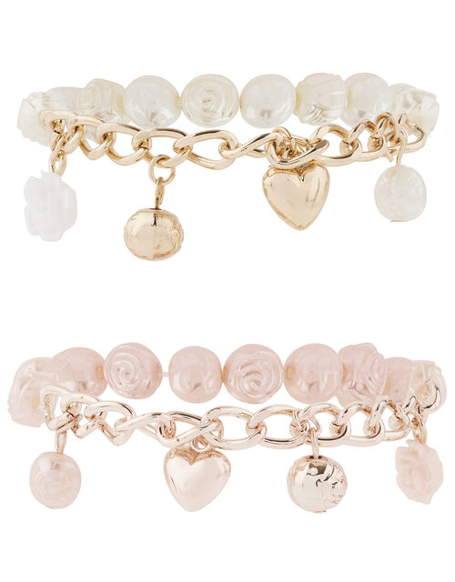Pearl and Charm Trinket Bracelet Set, , large