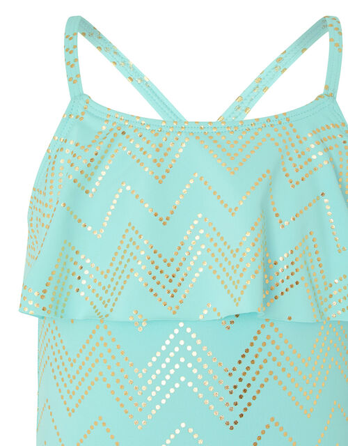 Chevron Foil Frill Swimsuit, Blue (TURQUOISE), large