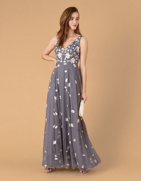 Clemence Embroidered Maxi Dress Grey, Grey (GREY), large