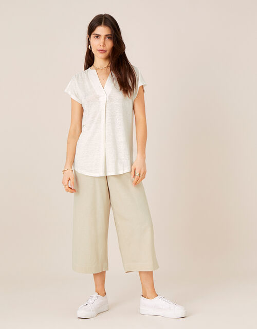Split T-Shirt in Pure Linen, Ivory (IVORY), large