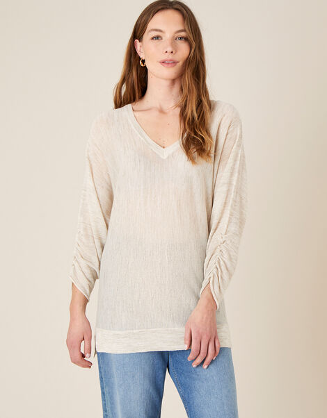 Gathered Sleeve Jumper in Linen Blend Natural, Natural (NATURAL), large