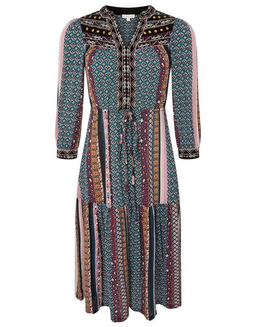 Geo Jersey Midi Dress with Organic Cotton, Multi (MULTI), large