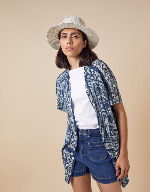 Deena Printed Cover-Up in Linen Blend, Blue (BLUE), large