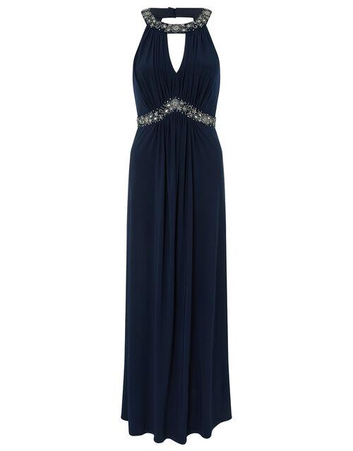Isabeli Embellished Jersey Maxi Bridesmaid Dress, Navy, large