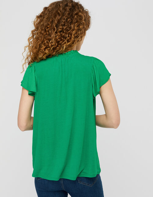 Woven Front Jersey Top, Green (GREEN), large