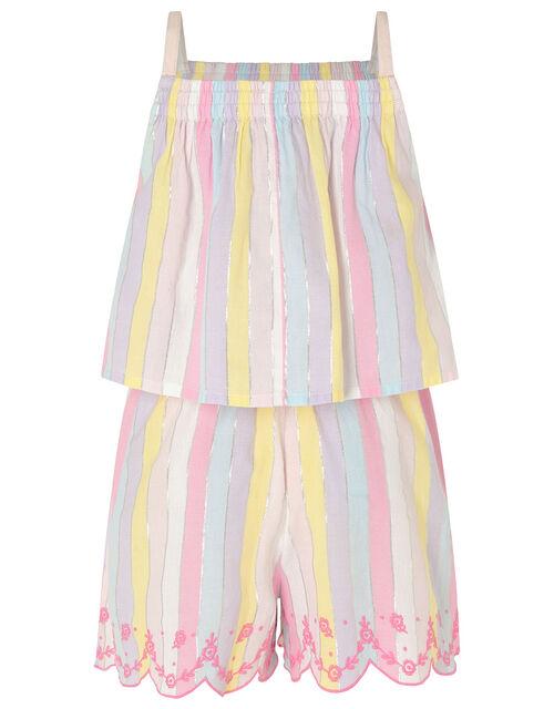Rainbow Shimmer Stripe Playsuit, Multi (MULTI), large