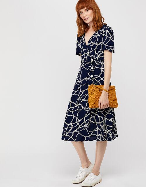 Daisy Chain Print Midi Dress, Blue (NAVY), large