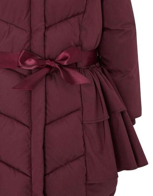 Ruffle Padded Coat, Red (BURGUNDY), large