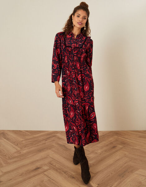Paisley Print Midi Dress Red, Red (RED), large