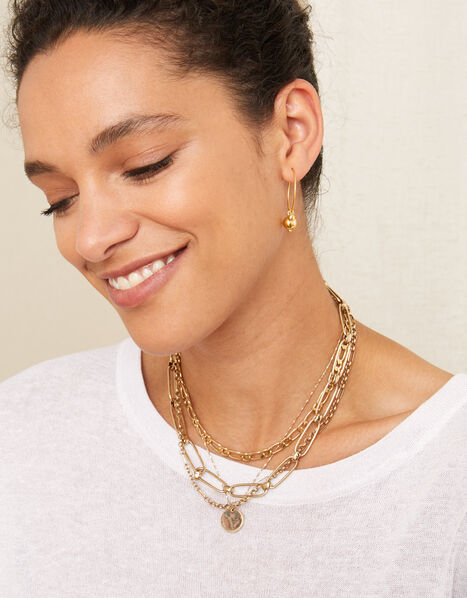 Gold-Plated Bead Charm Hoops, , large