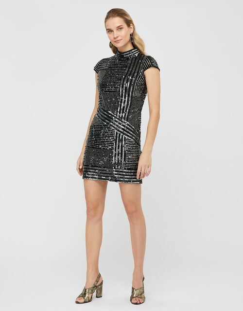 Brienne Linear Embellished Tunic Dress, Silver (SILVER), large
