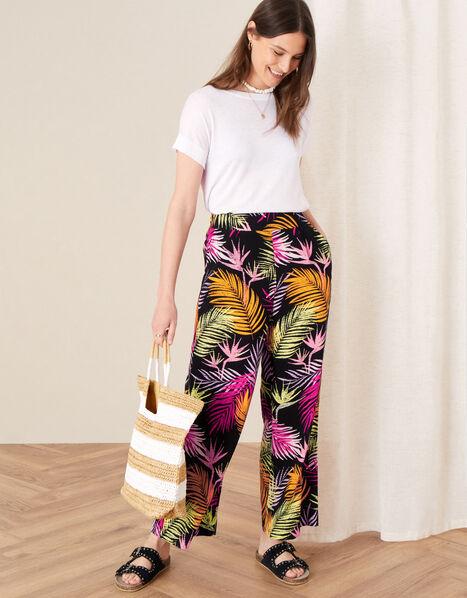Palm Print Wide Leg Trousers Black, Black (BLACK), large