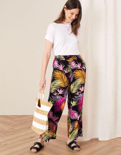 Palm Print Wide Leg Trousers, Black (BLACK), large