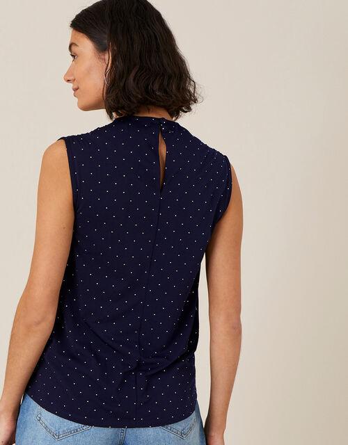 Tess Spot Print Cowl Neck Top, Blue (NAVY), large