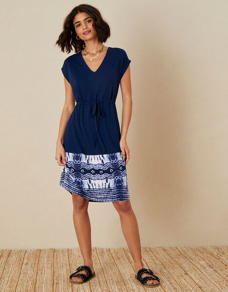 Tie Dye Hem Dress Blue, Blue (NAVY), large