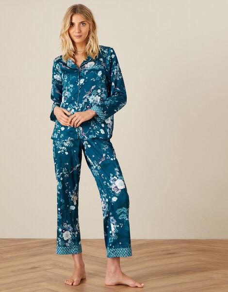 Floral Satin Pyjama Set Teal, Teal (TEAL), large
