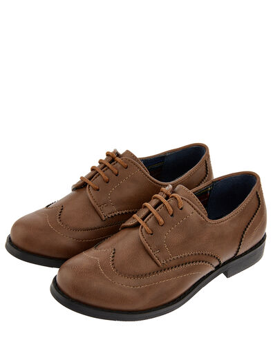 Boys' Oxford Brogue Shoes Brown, Brown (BROWN), large