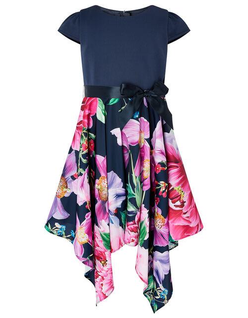 Floral Hanky Hem Dress, Blue (NAVY), large