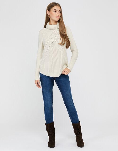 Christy Cowl Neck Knit Jumper, Ivory, large
