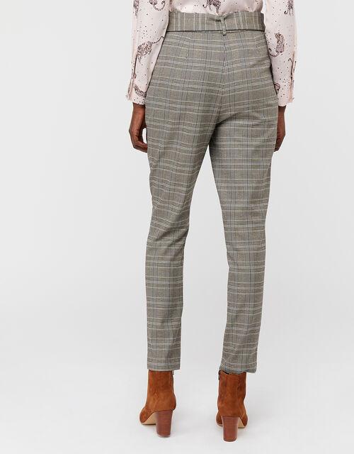 Ettie Check Wide Leg Trousers, Grey, large