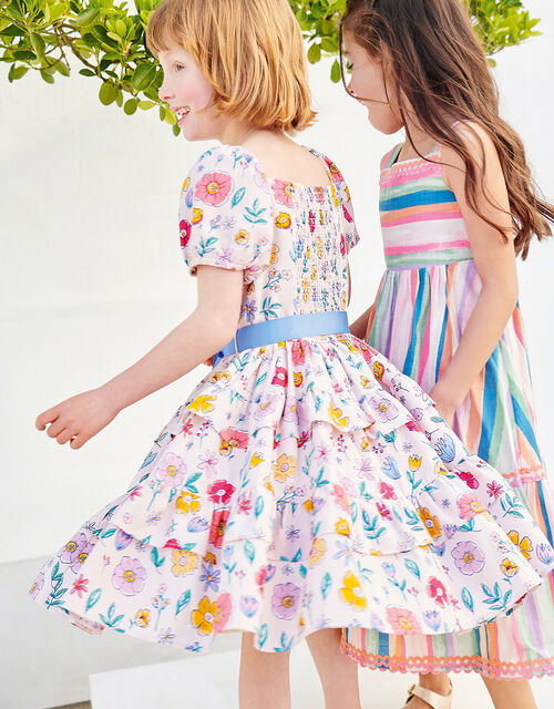 Floral Print Tiered Dress, Pink (PALE PINK), large