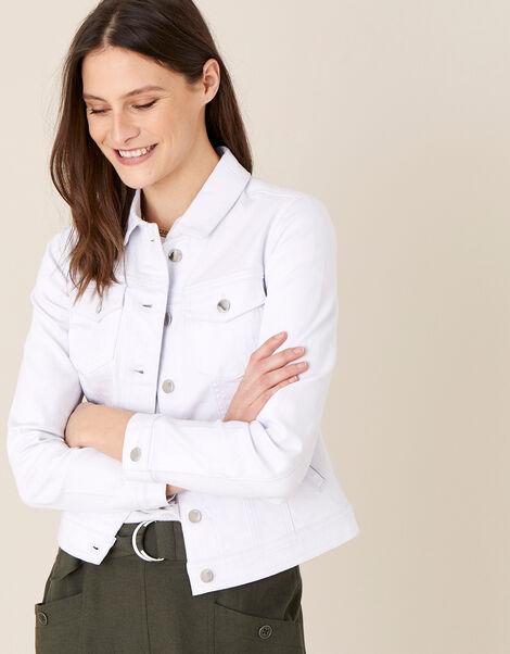 Willow Denim Jacket White, White (WHITE), large